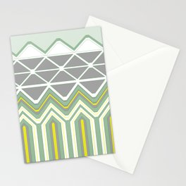 Grey Lime Green Geo Pattern Stationery Cards