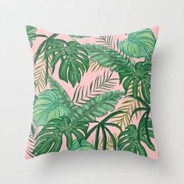 Tropical Greens Throw Pillow