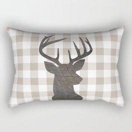 Rustic Farmhouse Decor, Plaid, Gingham, Deer Stag, Beige, Brown Rectangular Pillow