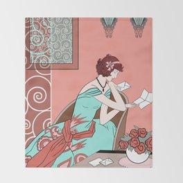 CLARICE: Art Deco Lady - Late Summer Throw Blanket