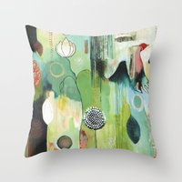 "flora bowley Throw Pillows featuring ""Fly Home"" Original Painting by Flora Bowley by Flora Bowley"