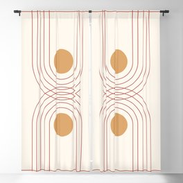 Mid Century Modern Geometric 51 in Terracotta Gold Beige Blackout Curtain