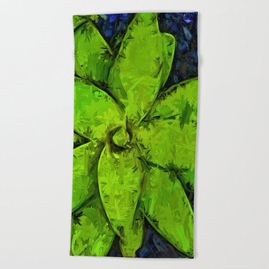 Green Agave and Dark Blue Pebbles Beach Towel