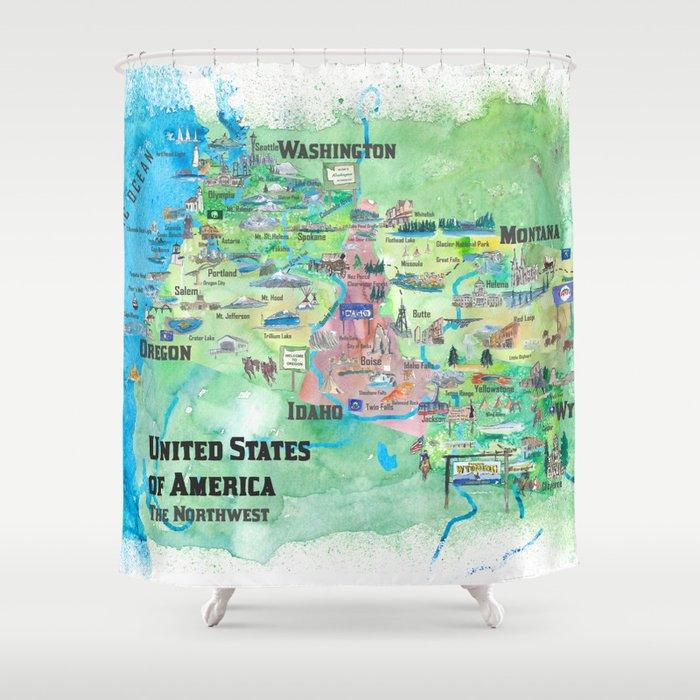 USA Northwest States Illustrated Travel Map Shower Curtain by artshop77