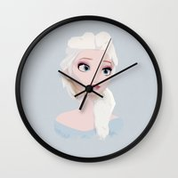 frozen elsa Wall Clocks featuring Elsa  by carolam