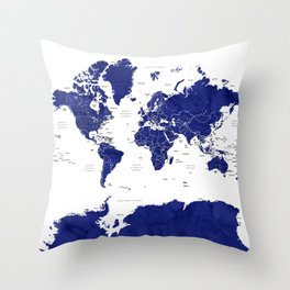 Navy blue world map with countries Throw Pillow