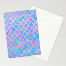 Pastel Pink Blue Gold Moroccan Quatrefoil Pattern Stationery Cards