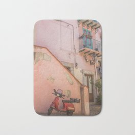 Red Scooter in Sicily Bath Mat
