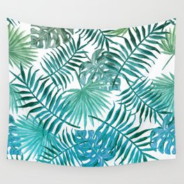 Azure tropical leaves Wall Tapestry