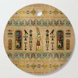 Egyptian Amun Ra - Amun Re Ornament on papyrus Cutting Board
