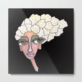 cauliflower girl on black Metal Print