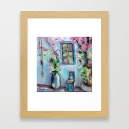 Anapa. Seaside town in bloom. Hot summer day. Pastel drawing Framed Art Print