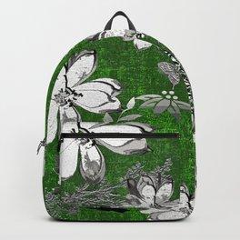 Birds Green Gray White Toile Backpack
