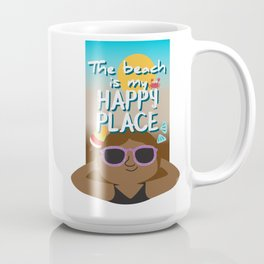 The beach is my happy place - Black skin Coffee Mug