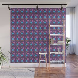Knitting balls and needles knit pattern in purple Wall Mural