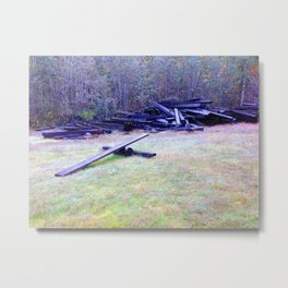 """Solo launch pad discovered in the woods make from Railroad Timbers."" Metal Print"
