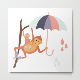 Monkeys in Rain Boots | Grey, Mint and Peach Metal Print