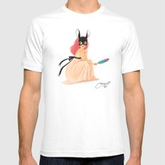 bunny mask MEDIUM Mens Fitted Tee White