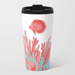 Modern nautical coral teal floral reef colorful fish Travel Mug