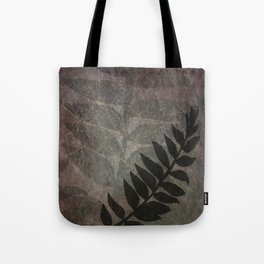 Pantone Red Pear Abstract Grunge with Fern Leaf - Foliage Silhouettes Tote Bag