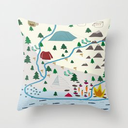 summer camp Throw Pillow