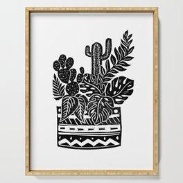 Botanical Pot Block Print Serving Tray