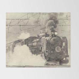 6120 Train Lithograph Throw Blanket