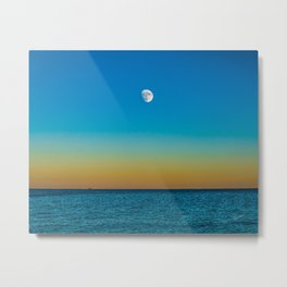 Moon Rising Over Chicago's North Shore Metal Print