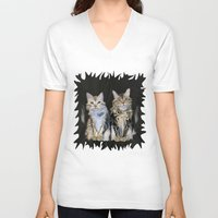 marble V-neck T-shirts featuring Marble Meows by Distortion Art