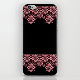 Retro .Vintage . Pink lace on a black background . iPhone Skin