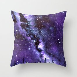 """""""Purple & Payne's Grey Milky Way Galaxy"""" watercolor landscape painting Throw Pillow"""