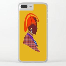 Kenya massai warrior africa graphic design digital art Clear iPhone Case