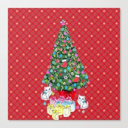 Christmas tree with cats / red tartan, plaid, kittens, holidays, christmas gift, Canvas Print