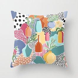 Strange Surface (Plants and Pots) Memphis Pattern Throw Pillow
