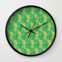 Tropical Palm Leaves Seamless Pattern Wall Clock