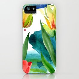 Yellow tulips. Floral botanical flower. Wild spring leaf wildflower i iPhone Case