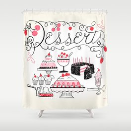 Midcentury Recipes Make Sweet And Lovely Vintage Desserts Shower Curtain