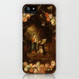 """Jan van Kessel """"Madonna with the Child Framed with a Garland of Flowers"""" iPhone Case"""