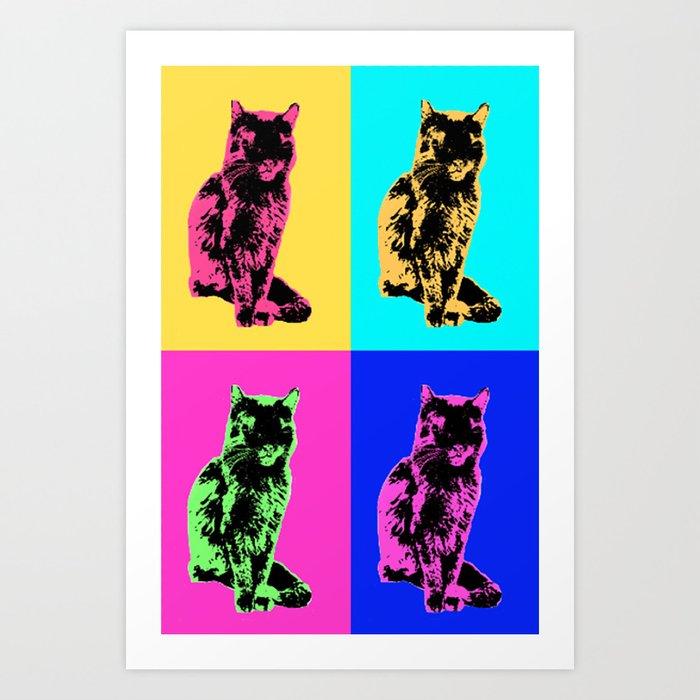 cat pop art print by rachaelesmith society6