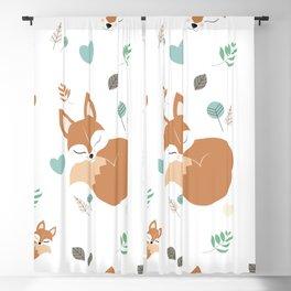 Cute Cartoon Sleepy Fox Pattern Blackout Curtain