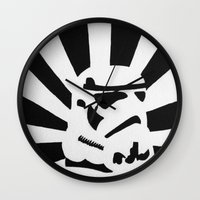 stormtrooper Wall Clocks featuring StormTrooper by Shelly Lukas Art