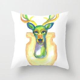 Rainbow Deer Throw Pillow
