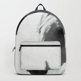 White horse portrait Backpack