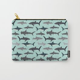 Sharks nature animal illustration texture print marine biologist sea life ocean Andrea Lauren Carry-All Pouch