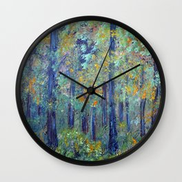 Impressionism Landscape Tree Forest, Rustic Art Home Decor Wall Clock