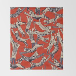 cat party retro Throw Blanket