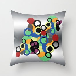 Multi colored circles on metal Throw Pillow