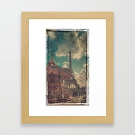 Eiffel Tower and Carousel Vintage Film Style Print Framed Art Print