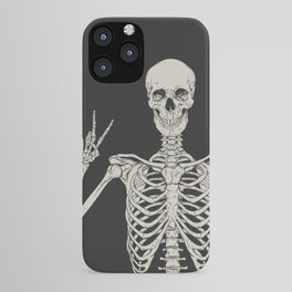 1 Mystic of 94 Magical Mystical Gothic Human Skeleton Giving The Peace Sign Bones Black & White iPhone Case