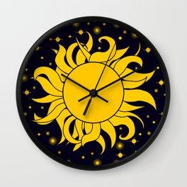 Bold Yellow Sun & Stars On Dark Blue Wall Clock
